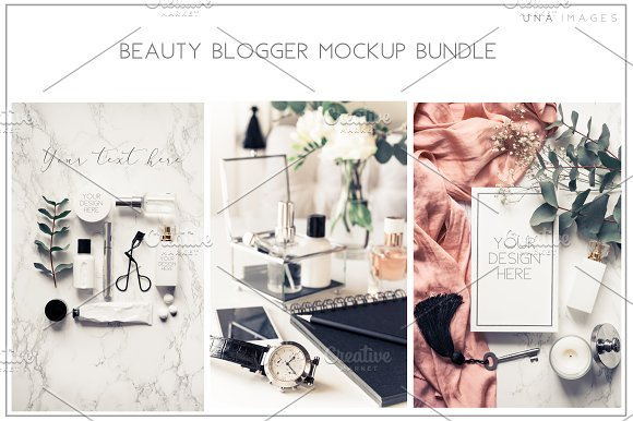 Beauty blogger mockup bundle Vol. 2 in Instagram Templates - product preview 1