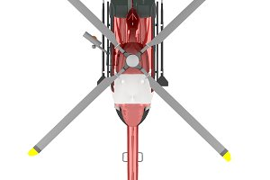 rescue helicopter top view isolated on white 3d rendering