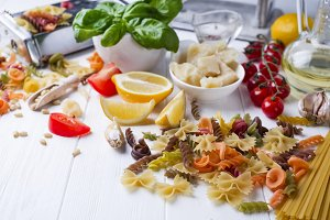 Ingredients for cooking of homemade Italian pasta