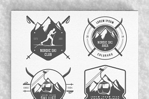 Large winter + ski labels set