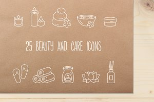 Set of 25 Beauty and Care icons
