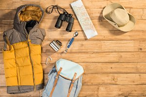 Traveler set on wooden background