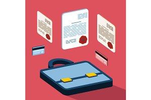 Business 3d documents concept
