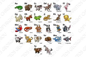 Cartoon Animal Alphabet Chart Set