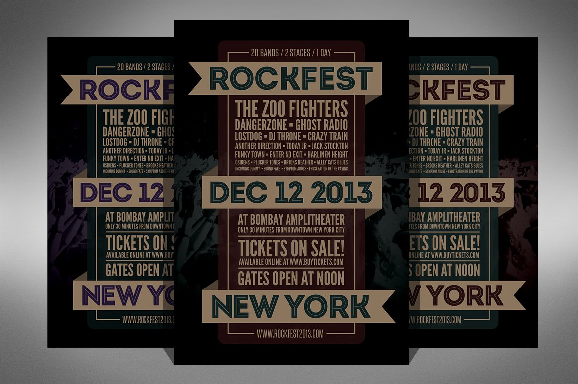 rock festival music flyer 2 sizes flyer templates creative market