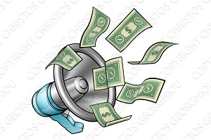 Cartoon Money Megaphone Concept