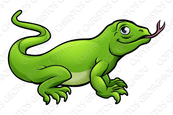 Komodo Dragon Lizard Cartoon Character