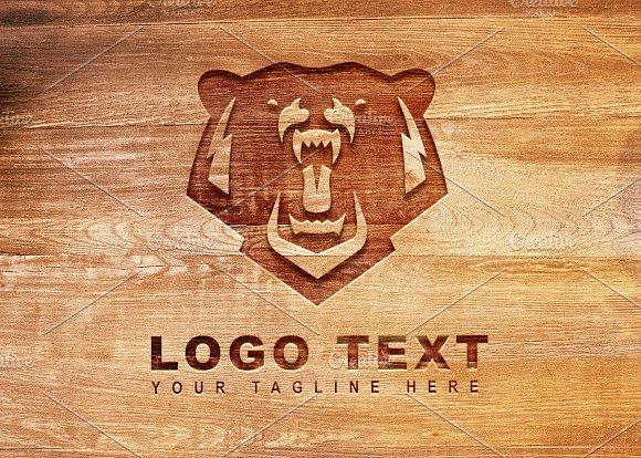 Bear Rustic Logo Mock-Up Vector