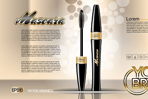 Vector black mascara mockup