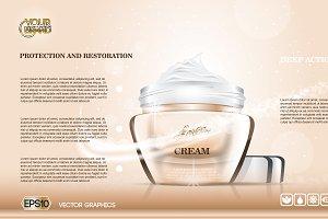 Vector glass face cream mockup