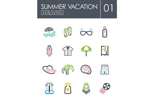 Beach icon set. Summer. Vacation