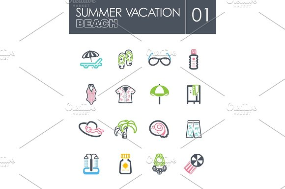 Beach Icon Set Summer Vacation