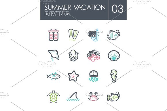 Diving Icon Set Summer Vacation