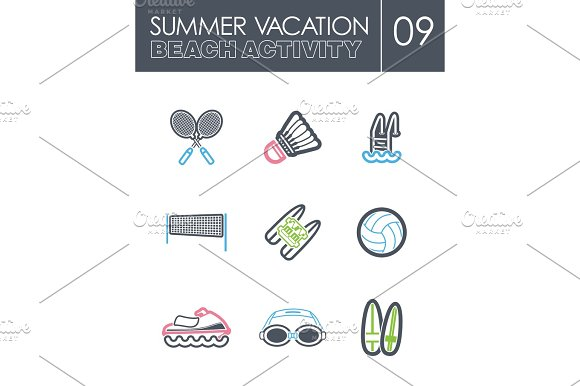 Beach Activity Icon Set Summer Vacation
