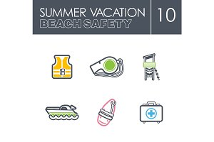 Lifeguard beach safety icon set. Summer. Vacation