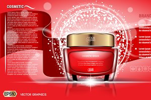 Vector red face cream mockup