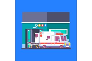 Hospital building with ambulance. Urban background. Modern medical center with first aid. Flat illustration