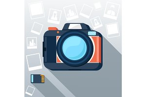 Photo camera with pictures