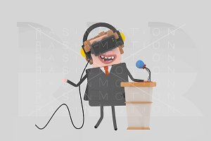 Businessman meeting with VR set