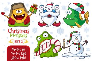 Christmas Vector Monsters Set 2