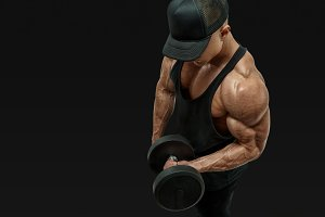 Biceps curl workout with dumbbell