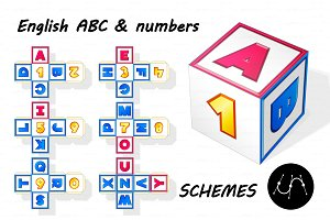 ♥ vector ABC paper cube schemes