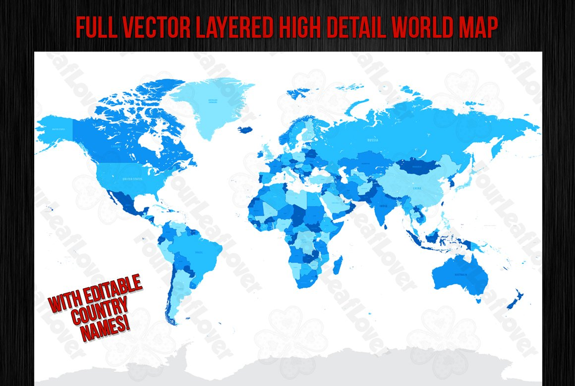 Vector High Detail World Map Illustrations Creative Market - Map of the world in detail