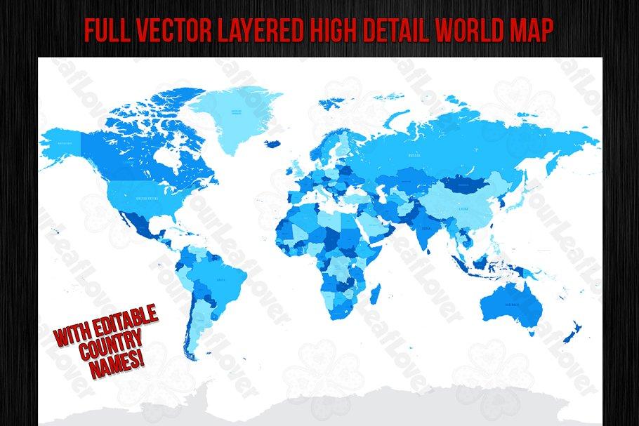 Vector High Detail World Map ~ Illustrations ~ Creative Market