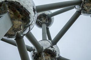Detail of the Atomium in Brussels