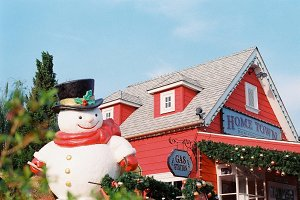 Snow man and ornamented house