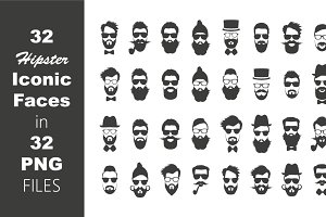 32 ICON STYLE HIPSTER FACE