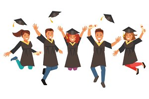 Happy graduates. Vector illustration