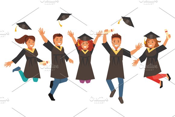 Happy graduates. Vector illustration