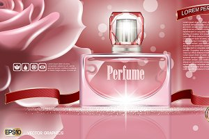 Vector pink glass perfume mockup