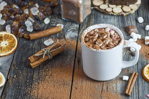 Cocoa drink with marshmallow