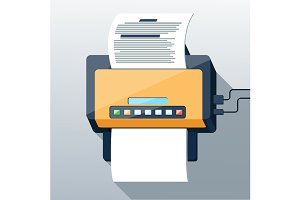 Fax icon in flat design long shadow