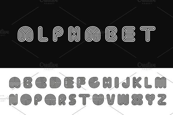 Striped Vector Alphabet B W