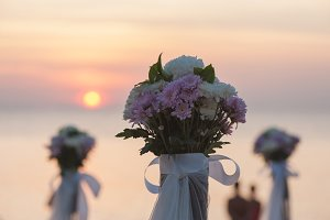 Wedding bouquet decoration at sunset