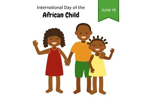 Cute characters for International Day of the African Child on 16 June