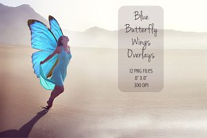 Blue Butterfly Wings Overlays