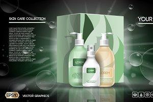 Vector green lotion set mockup
