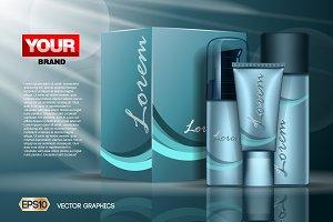 Vector blue face cream set mockup