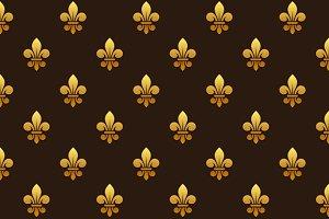 Golden Fleur de lis Seamless Pattern