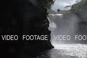 Slow motion view of waterfall. Port Louis, Mauritius Island