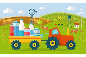 Milk Eco Farm Concept Vector in Flat Style Design