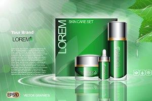 Vector green face cream set mockup