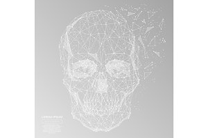 skull low poly white