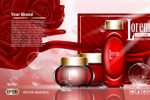 Vector red cream face set mockup