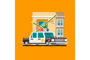 Police car patrol image Flat vector illustration