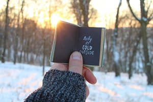 Baby its cold outside. Book and text.